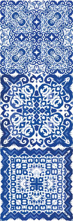 Ethnic ceramic tile in portuguese azulejo. Vector seamless pattern theme. Bathroom design. vintage ornament for surface texture, towels, pillows, wallpaper, print, web background.