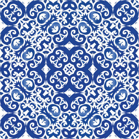 Antique azulejo tiles patchwork. Vector seamless pattern theme. Bathroom design. Blue spain and portuguese decor for bags, smartphone cases, T-shirts, linens or scrapbooking.