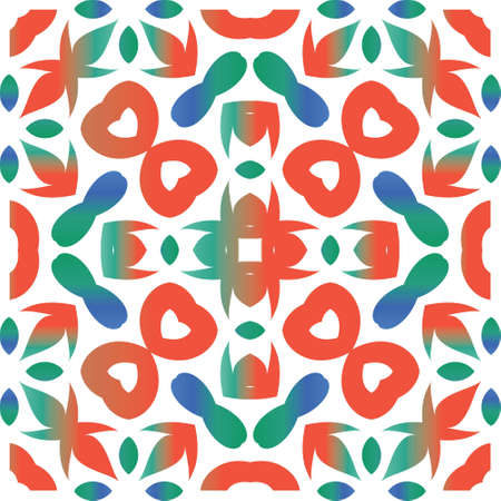 Traditional ornate mexican talavera. Colored design. Vector seamless pattern poster. Red abstract background for web backdrop, print, pillows, surface texture, wallpaper, towels. Çizim