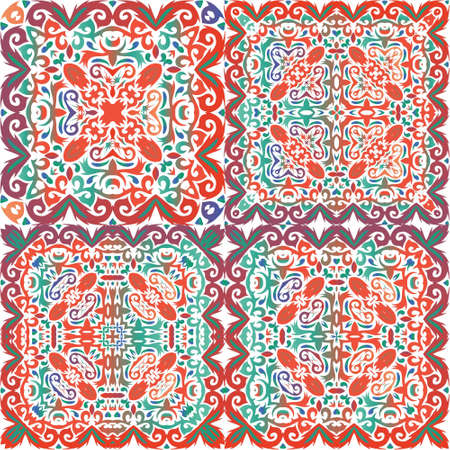 Ornamental talavera mexico tiles decor. Colored design. Collection of vector seamless patterns. Red gorgeous flower folk prints for linens, smartphone cases, scrapbooking, bags or T-shirts. Çizim