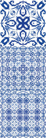 Portuguese ornamental azulejo ceramic. Vector seamless pattern texture. Colored design. vintage backdrop for wallpaper, web background, towels, print, surface texture, pillows. Çizim