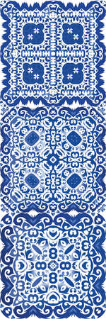 Ceramic tiles azulejo portugal. Kitchen design. Vector seamless pattern texture. ethnic background for T-shirts, scrapbooking, linens, smartphone cases or bags.