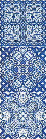 Ethnic ceramic tile in portuguese azulejo. Vector seamless pattern texture. Kitchen design. vintage ornament for surface texture, towels, pillows, wallpaper, print, web background. Çizim