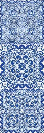 Ceramic tiles azulejo portugal. Hand drawn design. Vector seamless pattern template. ethnic background for T-shirts, scrapbooking, linens, smartphone cases or bags. Çizim