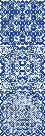 Antique portuguese azulejo ceramic. Vector seamless pattern trellis. Colored design. floral and abstract decor for scrapbooking, smartphone cases, T-shirts, bags or linens.