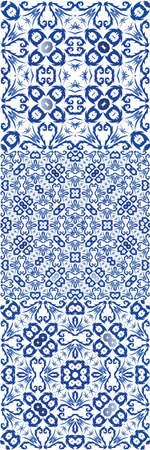 Ornamental azulejo portugal tiles decor. Vector seamless pattern template. Modern design. gorgeous flower folk print for linens, smartphone cases, scrapbooking, bags or T-shirts. Çizim