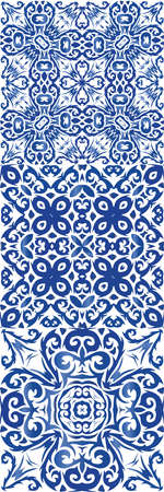 Ornamental azulejo portugal tiles decor. Vector seamless pattern texture. Hand drawn design. gorgeous flower folk print for linens, smartphone cases, scrapbooking, bags or T-shirts.