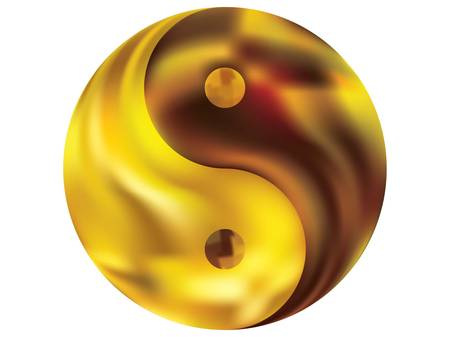Smooth background in the form of yin yang. Oriental original liquid theme. Trendy soft color backdrop. Yellow elegant and easy editable colorful fluid cover for your creative projects. Çizim