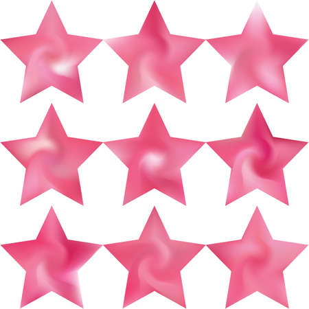 Collection of pentagram mesh backgrounds. Trendy soft color star. Flat style of 90th, 80th. Pink celebration templates for your cards, invitation, brochure and calendar.