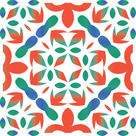 Mexican ornamental talavera ceramic. Graphic design. Vector seamless pattern trellis. Red vintage backdrop for wallpaper, web background, towels, print, surface texture, pillows.