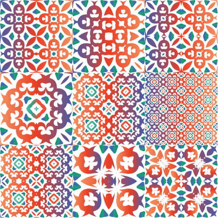 Traditional ornate mexican talavera. Colored design. Set of vector seamless patterns. Red abstract backgrounds for web backdrop, print, pillows, surface texture, wallpaper, towels.