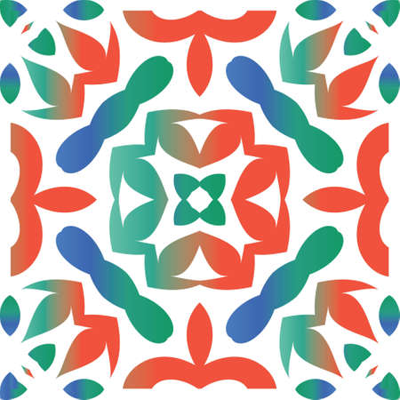 Mexican ornamental talavera ceramic. Vector seamless pattern watercolor. Colored design. Red vintage backdrop for wallpaper, web background, towels, print, surface texture, pillows.