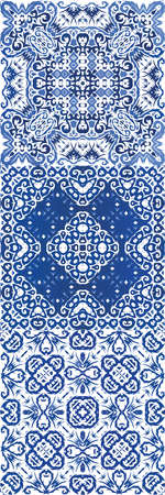 Traditional ornate portuguese azulejos. Set of vector seamless patterns. Minimal design. Blue abstract backgrounds for web backdrop, print, pillows, surface texture, wallpaper, towels.