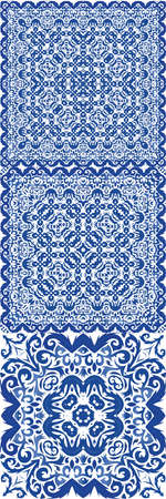 Antique portuguese azulejo ceramic. Vector seamless pattern template. Geometric design. floral and abstract decor for scrapbooking, smartphone cases, T-shirts, bags or linens.