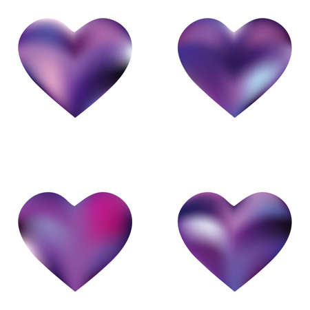 Set of mesh backgrounds hearts. Soft color illustration. Creative fashion style of 90th, 80th. Violet celebration templates for your cards, invitation, brochure and calendar.