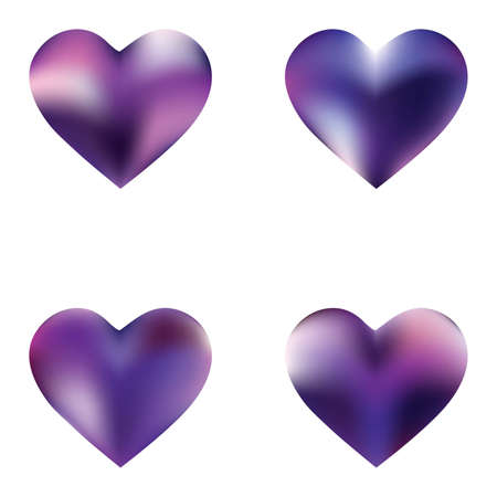 Set of mesh backgrounds hearts. Soft color icon. Minimal fashion style of 90th, 80th. Violet celebration templates for your cards, invitation, brochure and calendar.
