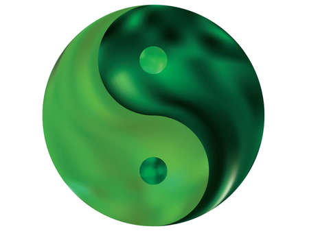 Blurred background in the form of yin yang. Trendy soft color illustration. Flat original liquid theme. Green modern abstract cover for your graphic design or creative projects.