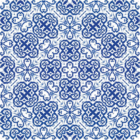 Traditional ornate portuguese azulejo. Modern design. Vector seamless pattern concept. Blue abstract background for web backdrop, print, pillows, surface texture, wallpaper, towels. Illusztráció