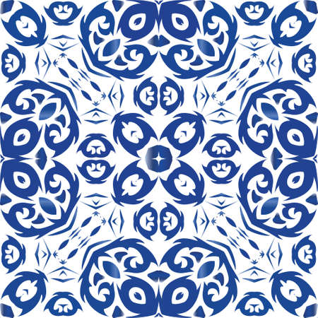 Antique portuguese azulejo ceramic. Vector seamless pattern frame. Creative design. Blue floral and abstract decor for scrapbooking, smartphone cases, T-shirts, bags or linens. Illusztráció