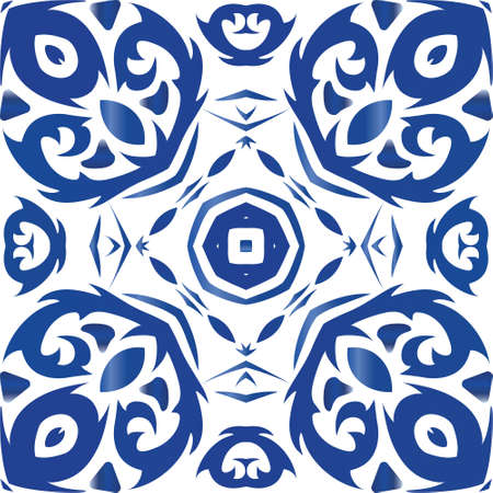 Ornamental azulejo portugal tiles decor. Fashionable design. Vector seamless pattern frame. Blue gorgeous flower folk print for linens, smartphone cases, scrapbooking, bags or T-shirts.