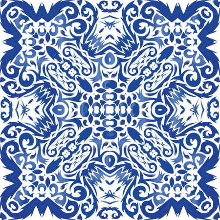 Portuguese vintage azulejo tiles. Vector seamless pattern illustration. Graphic design. Blue antique background for pillows, print, wallpaper, web backdrop, towels, surface texture.