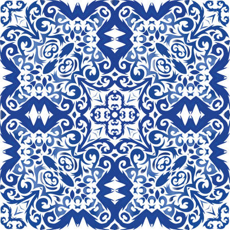Antique portuguese azulejo ceramic. Vector seamless pattern template. Geometric design. Blue floral and abstract decor for scrapbooking, smartphone cases, T-shirts, bags or linens.
