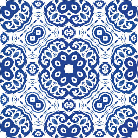 Decorative color ceramic azulejo tiles. Vector seamless pattern arabesque. Geometric design. Blue folk ethnic ornament for print, web background, surface texture, towels, pillows, wallpaper.