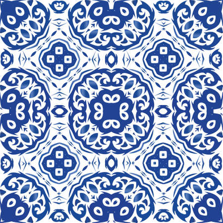 Decorative color ceramic azulejo tiles. Stylish design. Vector seamless pattern template. Blue folk ethnic ornament for print, web background, surface texture, towels, pillows, wallpaper. Illusztráció