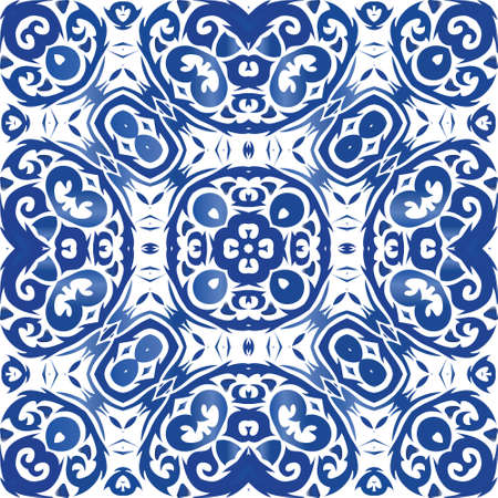 Ethnic ceramic tile in portuguese azulejo. Minimal design. Vector seamless pattern theme. Blue vintage ornament for surface texture, towels, pillows, wallpaper, print, web background.