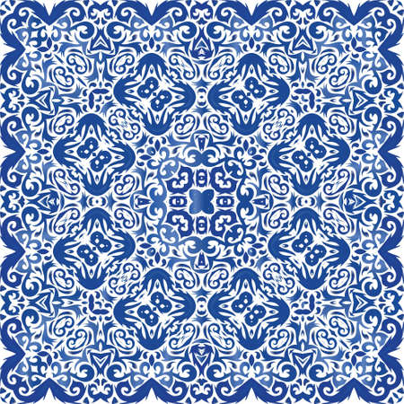 Traditional ornate portuguese azulejo. Vector seamless pattern arabesque. Colored design. Blue abstract background for web backdrop, print, pillows, surface texture, wallpaper, towels.