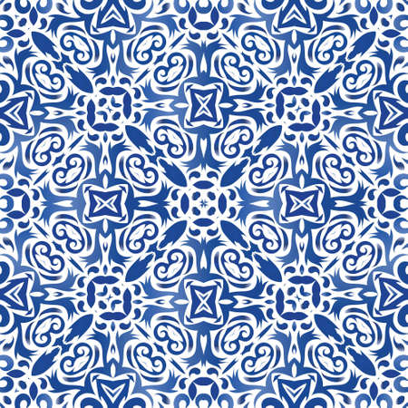 Decorative color ceramic azulejo tiles. Bathroom design. Vector seamless pattern theme. Blue folk ethnic ornament for print, web background, surface texture, towels, pillows, wallpaper.