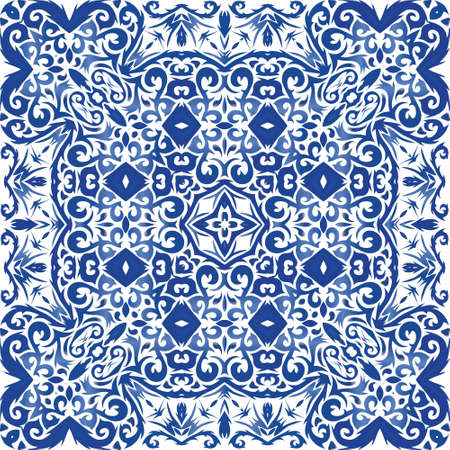 Ceramic tiles azulejo portugal. Stylish design. Vector seamless pattern frame. Blue ethnic background for T-shirts, scrapbooking, linens, smartphone cases or bags.