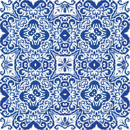 Antique portuguese azulejo ceramic. Kitchen design. Vector seamless pattern texture. Blue floral and abstract decor for scrapbooking, smartphone cases, T-shirts, bags or linens.