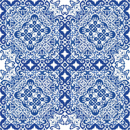 Ceramic tiles azulejo portugal. Vector seamless pattern frame. Kitchen design. Blue ethnic background for T-shirts, scrapbooking, linens, smartphone cases or bags.