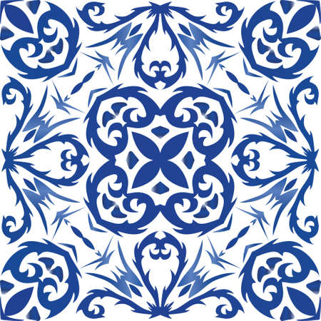 Decorative color ceramic azulejo tiles. Original design. Vector seamless pattern texture. Blue folk ethnic ornament for print, web background, surface texture, towels, pillows, wallpaper.