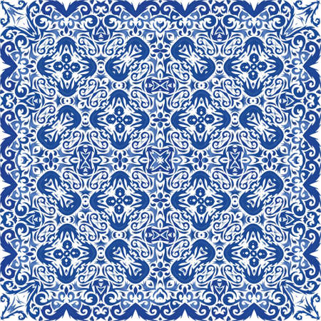 Traditional ornate portuguese azulejo. Hand drawn design. Vector seamless pattern illustration. Blue abstract background for web backdrop, print, pillows, surface texture, wallpaper, towels. Illusztráció