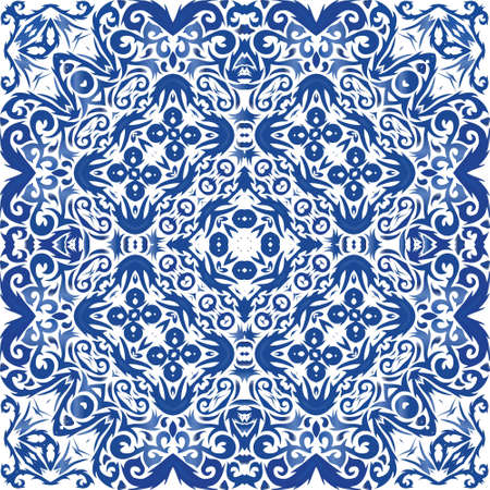 Ornamental azulejo portugal tiles decor. Vector seamless pattern template. Minimal design. Blue gorgeous flower folk print for linens, smartphone cases, scrapbooking, bags or T-shirts.