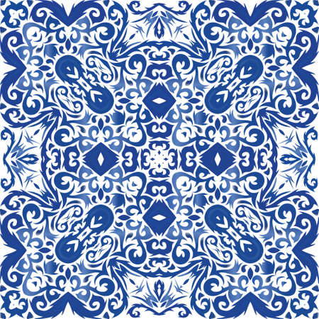 Ethnic ceramic tile in portuguese azulejo. Vector seamless pattern elements. Bathroom design. Blue vintage ornament for surface texture, towels, pillows, wallpaper, print, web background.