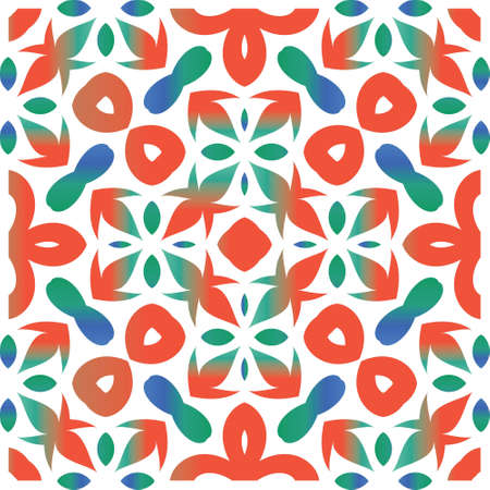 Mexican vintage talavera tiles. Bathroom design. Vector seamless pattern concept. Red antique background for pillows, print, wallpaper, web backdrop, towels, surface texture. Çizim