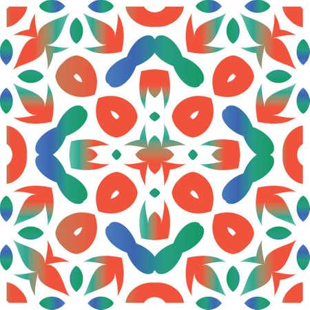 Decorative color ceramic talavera tiles. Vector seamless pattern trellis. Geometric design. Red folk ethnic ornament for print, web background, surface texture, towels, pillows, wallpaper. Çizim