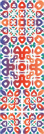 Antique talavera tiles patchworks. Kit of vector seamless patterns. Graphic design. Red mexican ornamental decor for bags, smartphone cases, T-shirts, linens or scrapbooking.