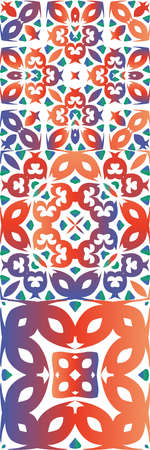Antique talavera tiles patchworks. Collection of vector seamless patterns. Geometric design. Red mexican ornamental decor for bags, smartphone cases, T-shirts, linens or scrapbooking. Çizim