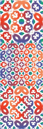 Antique ornate tiles talavera mexico. Original design. Set of vector seamless patterns. Red ethnic backgrounds for T-shirts, scrapbooking, linens, smartphone cases or bags. Çizim