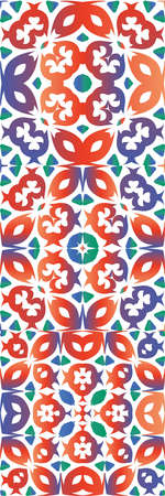 Antique mexican talavera ceramic. Collection of vector seamless patterns. Hand drawn design. Red floral and abstract decor for scrapbooking, smartphone cases, T-shirts, bags or linens. Çizim