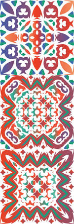 Ethnic ceramic tiles in mexican talavera. Modern design. Collection of vector seamless patterns. Red vintage ornaments for surface texture, towels, pillows, wallpaper, print, web background.