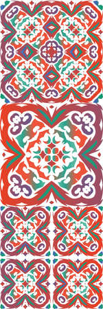 Traditional ornate mexican talavera. Hand drawn design. Collection of vector seamless patterns. Red abstract backgrounds for web backdrop, print, pillows, surface texture, wallpaper, towels.