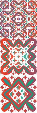 Ornamental talavera mexico tiles decor. Modern design. Set of vector seamless patterns. Red gorgeous flower folk prints for linens, smartphone cases, scrapbooking, bags or T-shirts.