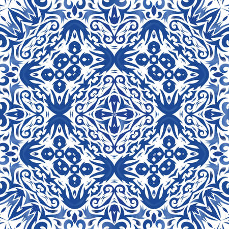 Traditional ornate portuguese azulejo. Minimal design. Vector seamless pattern texture. Blue abstract background for web backdrop, print, pillows, surface texture, wallpaper, towels. Illusztráció