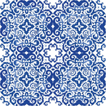 Portuguese ornamental azulejo ceramic. Creative design. Vector seamless pattern frame. Blue vintage backdrop for wallpaper, web background, towels, print, surface texture, pillows.