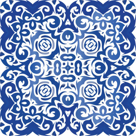 Antique portuguese azulejo ceramic. Vector seamless pattern concept. Fashionable design. Blue floral and abstract decor for scrapbooking, smartphone cases, T-shirts, bags or linens.